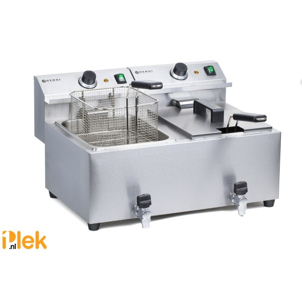 RVS tafelfriteuse 2x 8,0 Liter met Aftapkraan