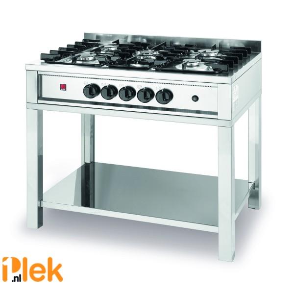 Professioneel gaskooktafel - open onderstel 14,3 kW - 5 pits