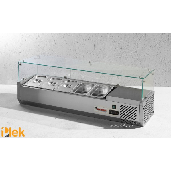 Koelvitrine rvs 5x GN 1/4 150 met hard glazen kap 230V