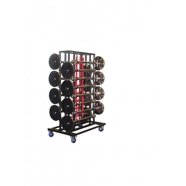 Transportkar + 16 Afzetpalen en koorden set zwart