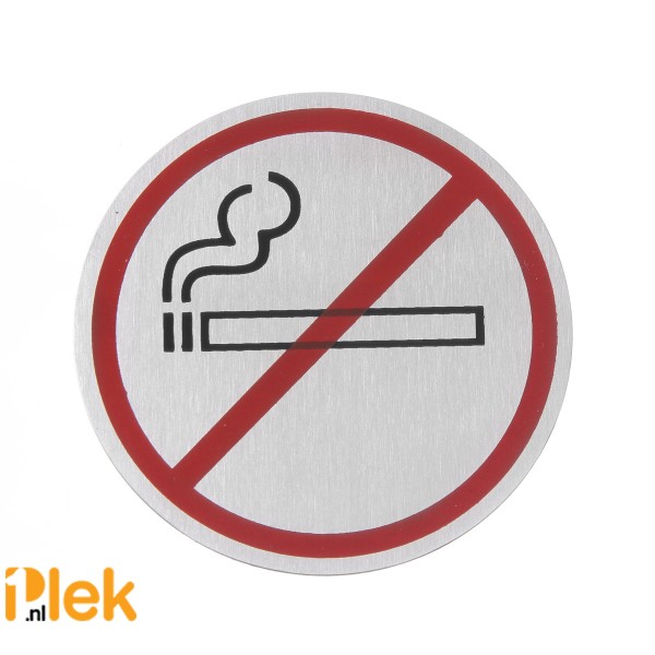 Deurschild rvs Niet Roken zwart/rood 75mm