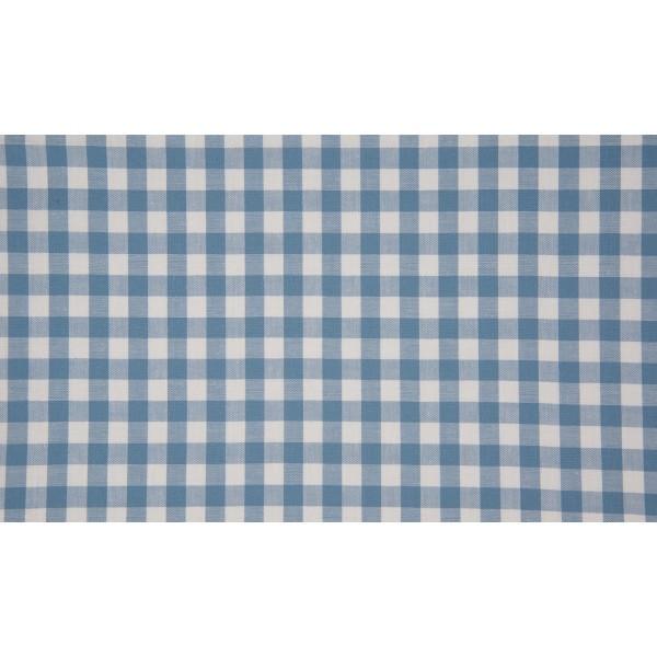 Staalblauw wit geruit katoen - Boerenbont middel ruit