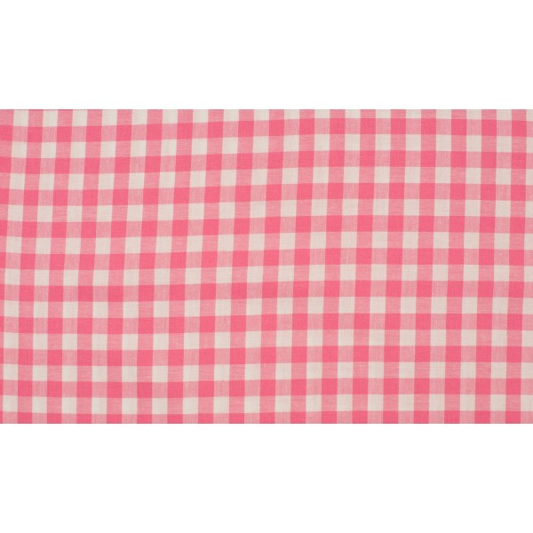 Roze wit geruit katoen - Boerenbont middel ruit