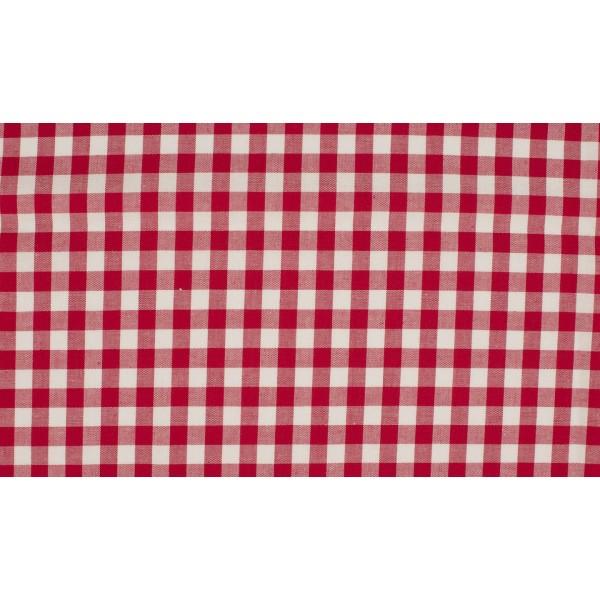 Rood wit geruit katoen - Boerenbont middel ruit