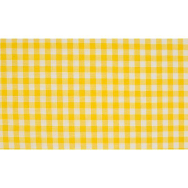 Geel wit geruit katoen - Boerenbont middel ruit