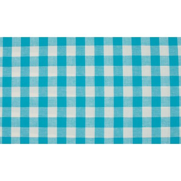 Oceaanblauw wit geruit katoen - Boerenbont grote ruit