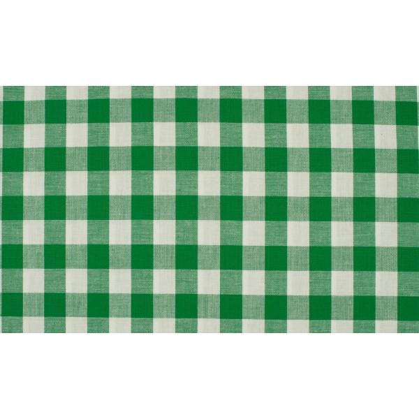Groen wit geruit katoen - Boerenbont grote ruit