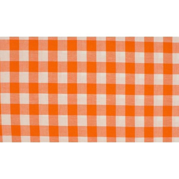 Oranje wit geruit katoen - Boerenbont grote ruit