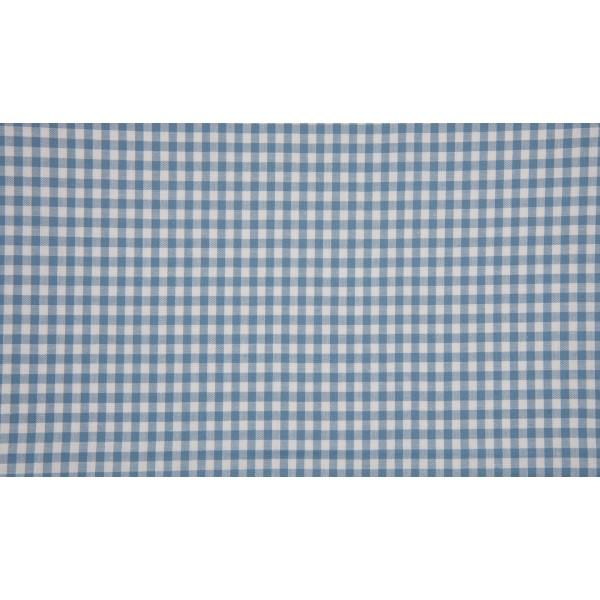 Staalblauw wit geruit katoen - Boerenbont kleine ruit