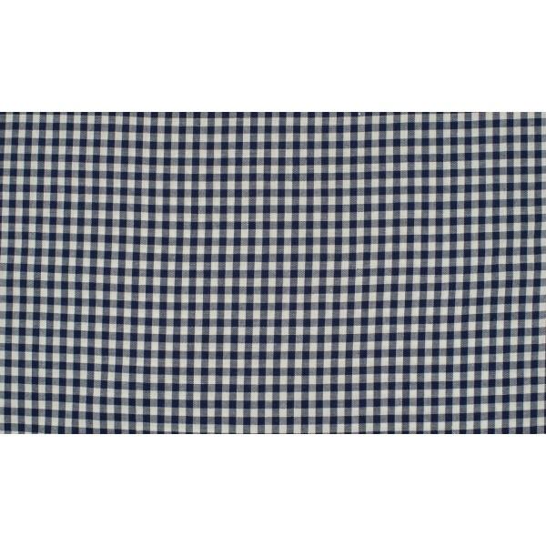 Marineblauw wit geruit katoen - Boerenbont kleine ruit