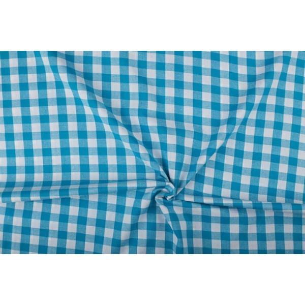 Waterblauw wit geruit katoen - Boerenbont - 18mm ruit - 80m rol