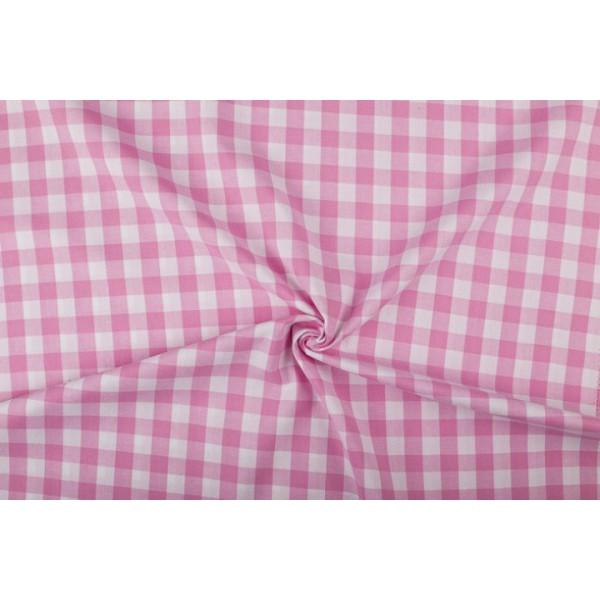 Roze wit geruit katoen - Boerenbont - 18mm ruit - 80m rol