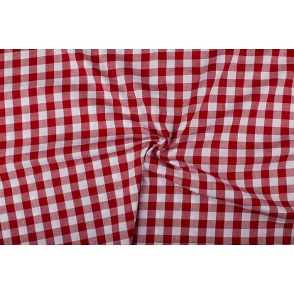 Rood wit geruit katoen - Boerenbont - 18mm ruit - 40m rol