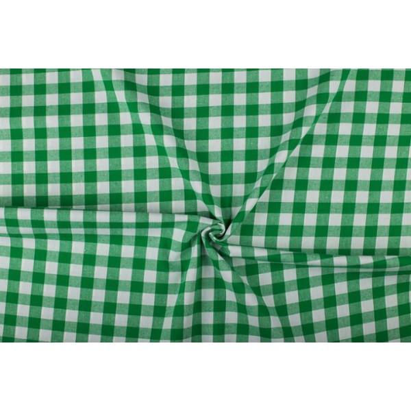 Groen wit geruit katoen - Boerenbont - 18mm ruit - 40m rol