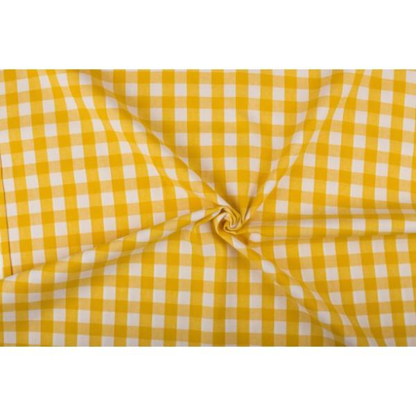 Geel wit geruit katoen - Boerenbont - 18mm ruit - 40m rol
