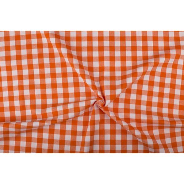 Oranje wit geruit katoen - Boerenbont - 18mm ruit - 40m rol