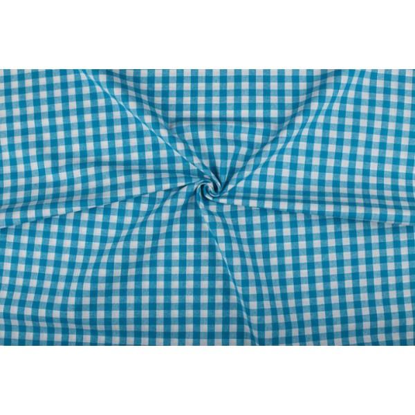 Waterblauw wit geruit katoen - Boerenbont - 10mm ruit - 10m rol