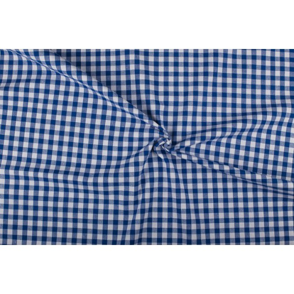 Blauw wit geruit katoen - Boerenbont - 10mm ruit - 80m rol