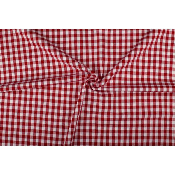Rood wit geruit katoen - Boerenbont - 10mm ruit - 40m rol