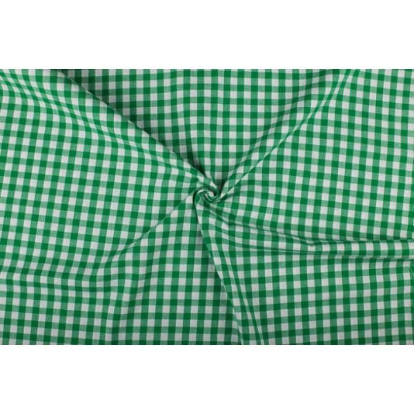 Groen wit geruit katoen - Boerenbont - 10mm ruit - 10m rol