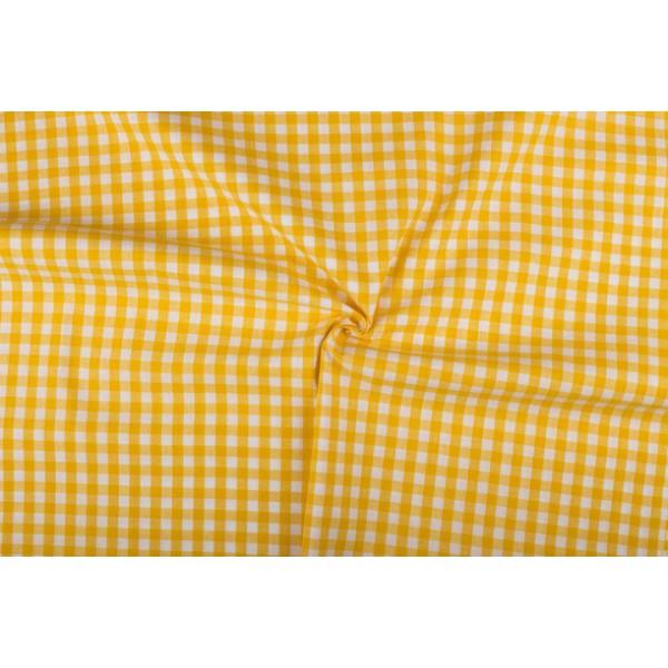 Geel wit geruit katoen - Boerenbont - 10mm ruit - 40m rol