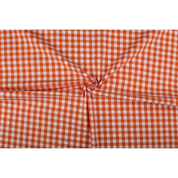 Oranje wit geruit katoen - Boerenbont - 10mm ruit - 80m rol