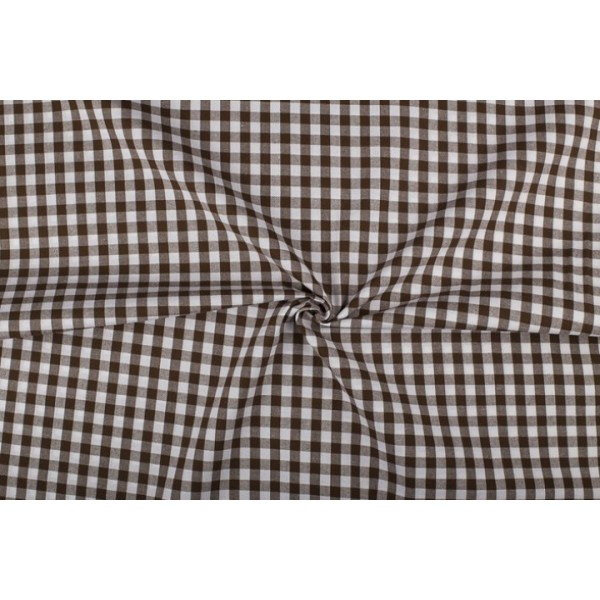 Bruin wit geruit katoen - Boerenbont - 10mm ruit - 10m rol