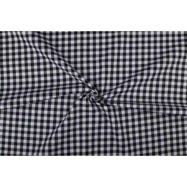 Zwart wit geruit katoen - Boerenbont - 10mm ruit - 40m rol