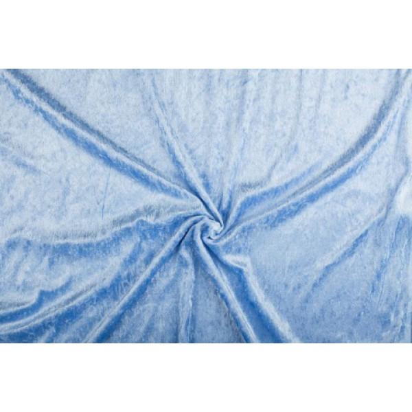 Velour de pannes lichtblauw - 10m stof op rol