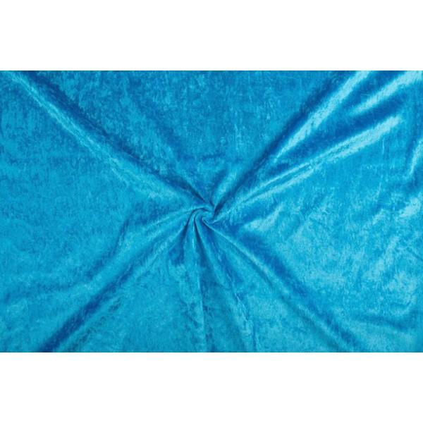 Velour de pannes waterblauw - 10m stof op rol