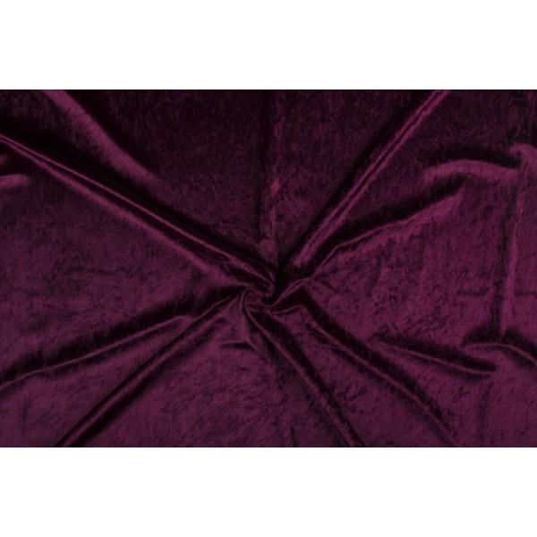 Velour de pannes donker bordeaux rood - 45m stof op rol