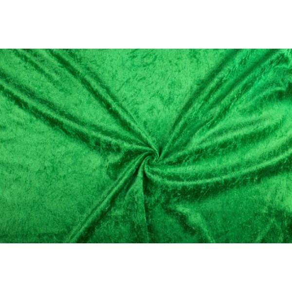 Velour de pannes groen - 45m stof op rol