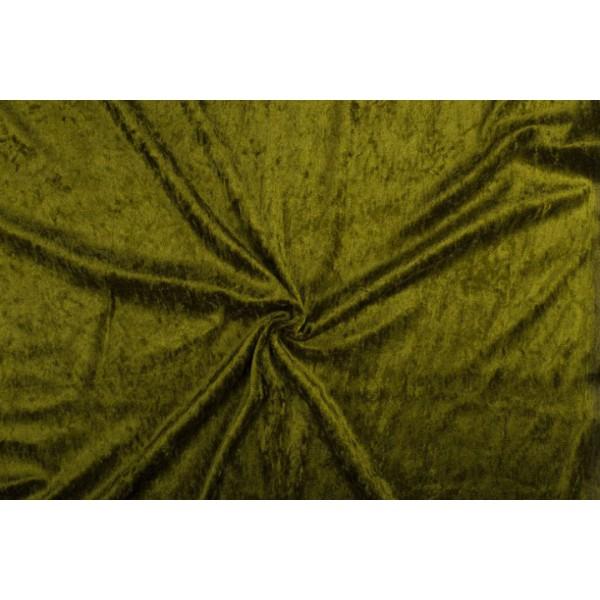Velour de pannes khaki groen - 10m stof op rol