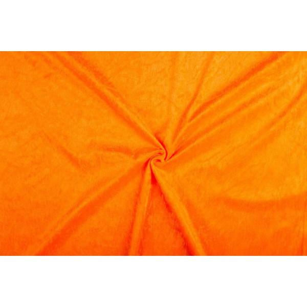 Velour de pannes oranje - 10m stof op rol