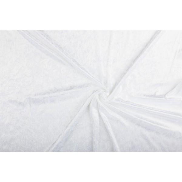 Velour de pannes wit - 10m stof op rol