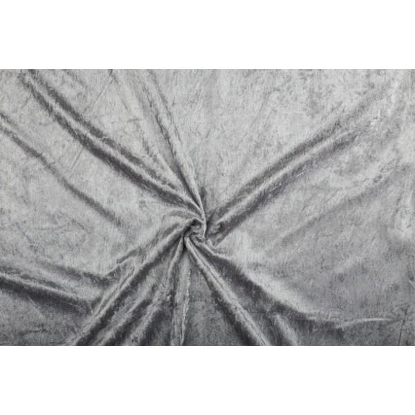Velour de pannes lichtgrijs - 45m stof op rol