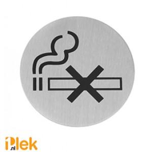 Deurschild rvs Niet Roken zwart 75mm