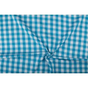 Waterblauw wit geruit katoen - Boerenbont - 18mm ruit - 10m rol