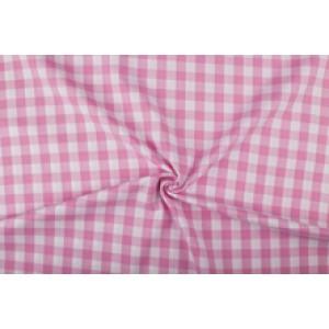 Roze wit geruit katoen - Boerenbont - 18mm ruit - 10m rol