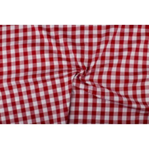 Rood wit geruit katoen - Boerenbont - 18mm ruit - 10m rol