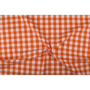 Oranje wit geruit katoen - Boerenbont - 18mm ruit - 10m rol
