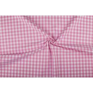 Roze wit geruit katoen - Boerenbont - 10mm ruit - 10m rol