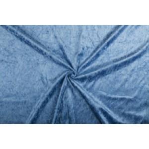 Velour de pannes blauw - 10m stof op rol