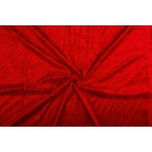 Velour de pannes rood - 10m stof op rol