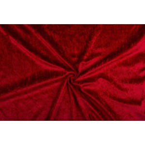 Velour de pannes donkerrood - 10m stof op rol